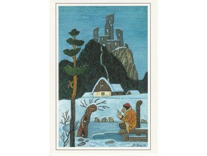 Pohlednice Josef Lada - Hastrman v zimě (1957)