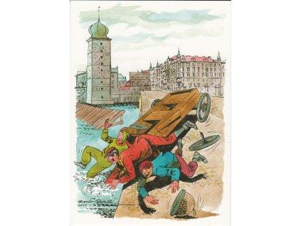 Pohlednice Rychlé šípy - havárie u Šitkovské věže