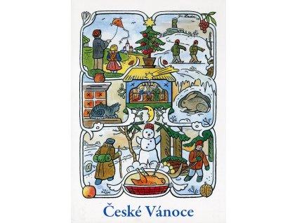 4265 2 pohlednice josef lada ceske vanoce zima 1947
