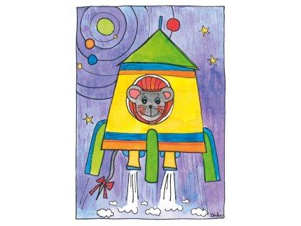 13490 3 pohlednice mys v rakete