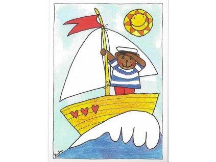 13514 3 pohlednice namornik se svou lodi