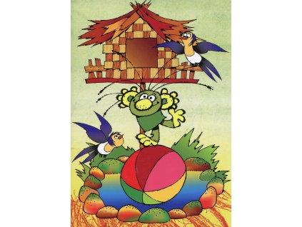 6206 2 pohlednice rakosnicek na balonu