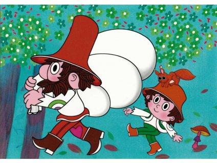 12209 2 pohlednice rumcajs cipisek a veverka