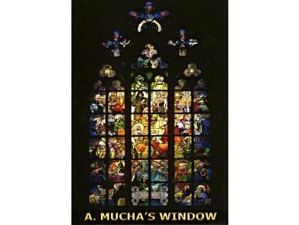 6041 2 pohlednice vitrazove okno alfonse muchy