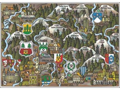 14180 4 pohlednice vrchlabi putovani krajinou s erby