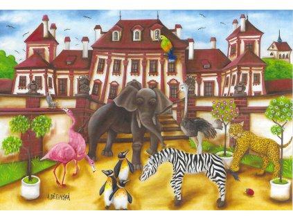14261 3 pohlednice zamek troja