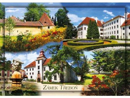 15458 2 pohlednice zamek trebon
