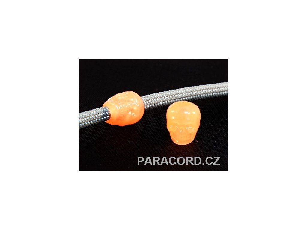 Korálek - lebka oranžová (svítící)