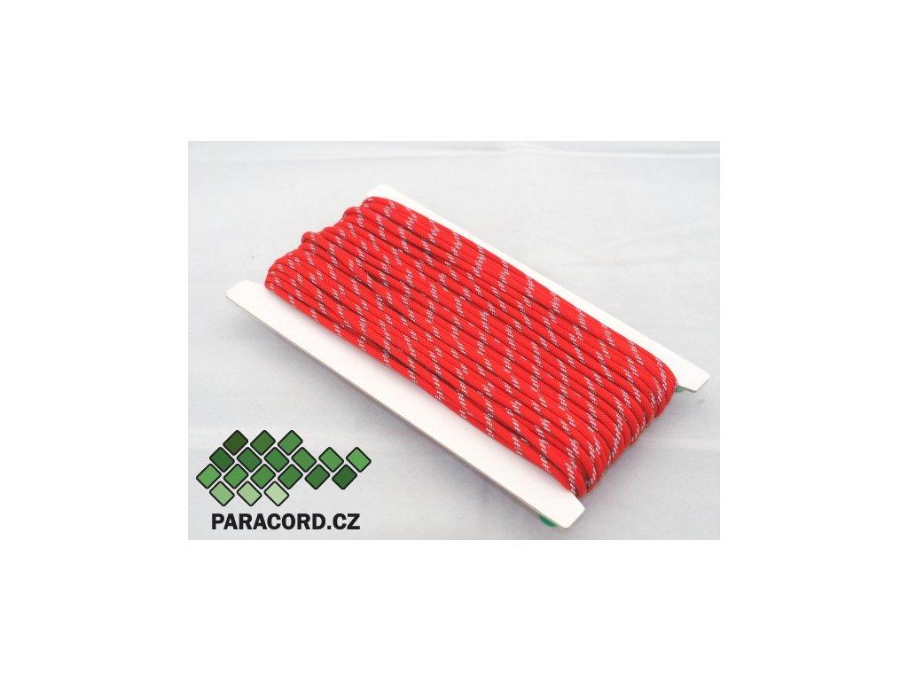 Paracord 550 - karta 25m ULTRAREFLEXNÍ ČERVENÁ