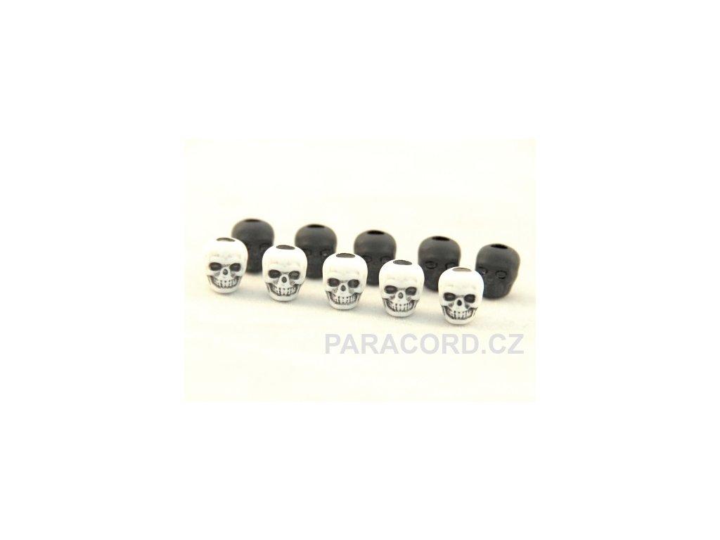 10ks korálek - lebka BLACK/WHITE