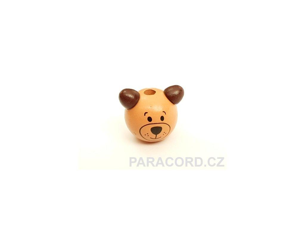 Korálek dřevěný medvídek - hnědý