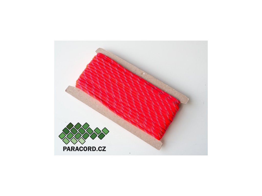 Paracord 550 - karta 25m ULTRAREFLEXNÍ RŮŽOVÁ