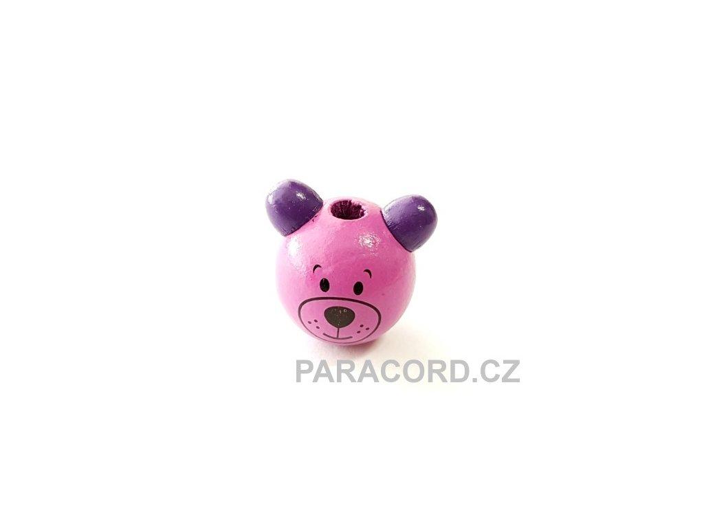 Korálek dřevěný medvídek - fialový