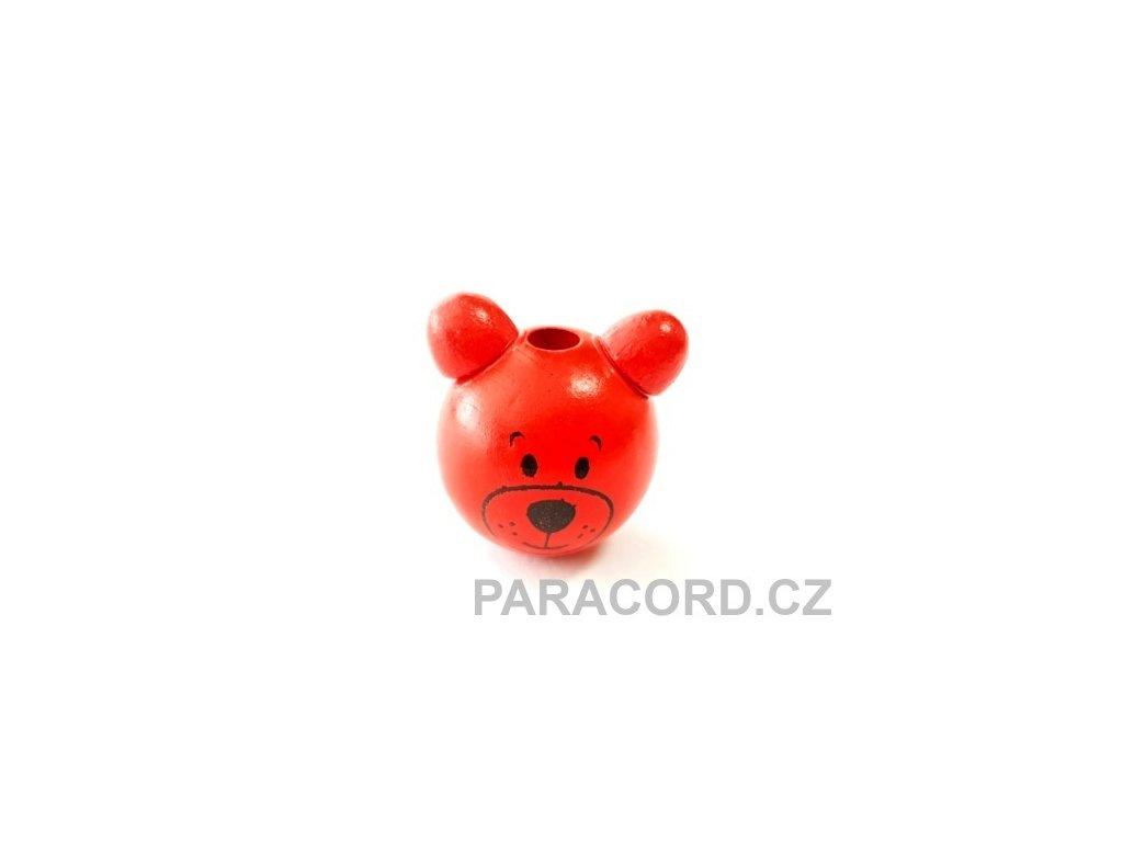 Korálek dřevěný medvídek - červený