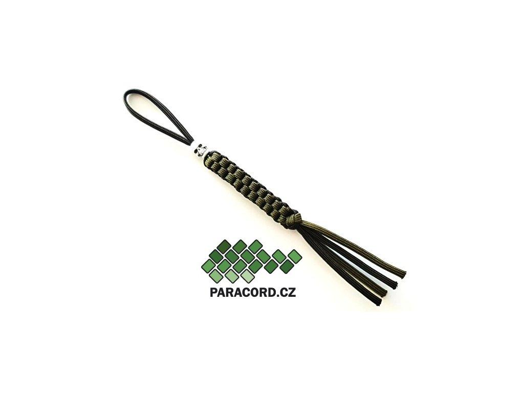 Paracord přívěšek na nůž oliv/černá