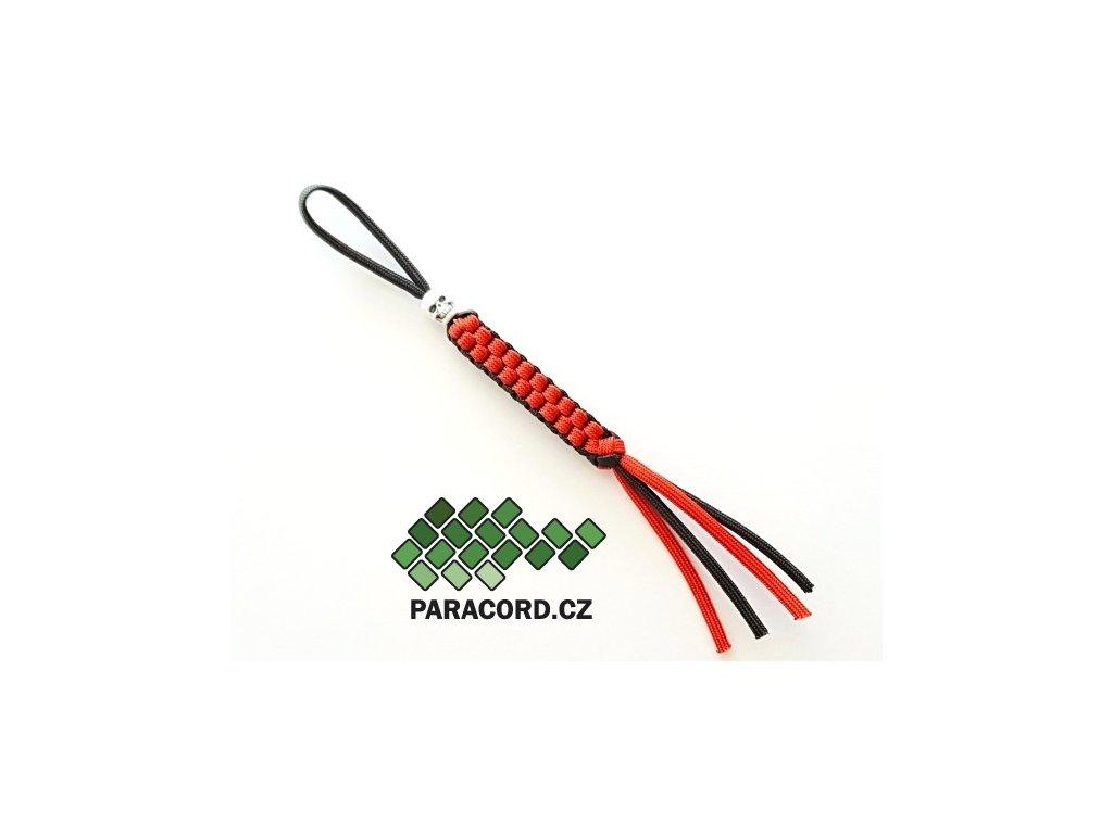 Paracord přívěšek na nůž červená/černá