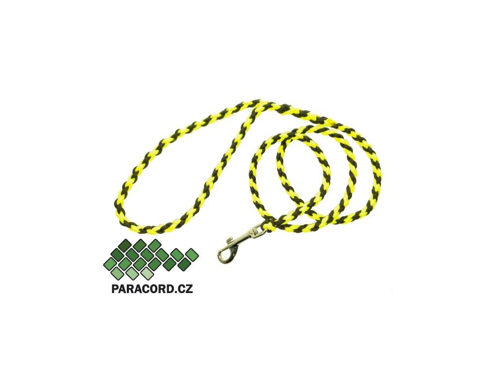 Paracord vodítko Simple 130cm neon žlutá/černá