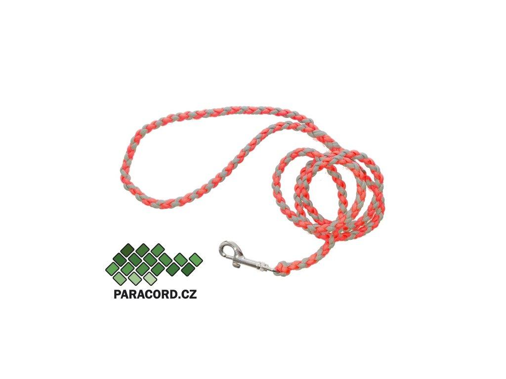 Paracord vodítko Simple 130cm neon růžová/šedá