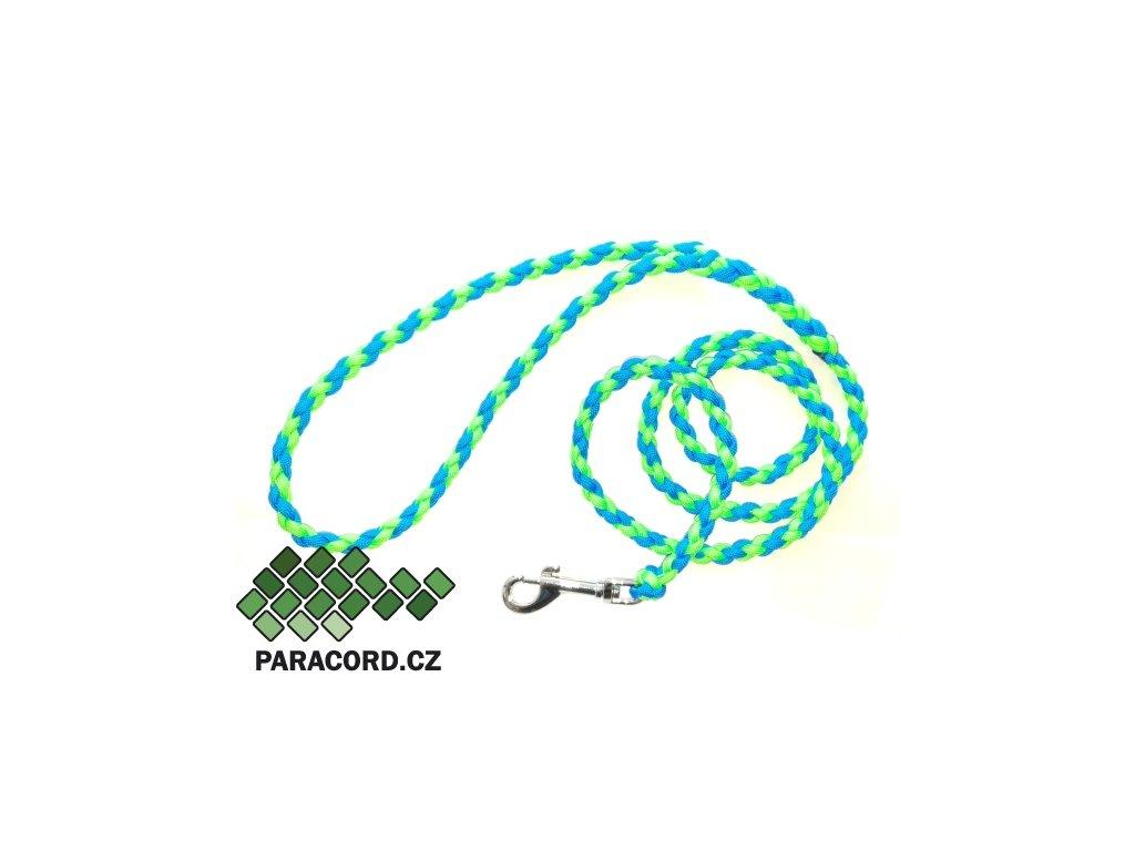 Paracord vodítko Simple 180cm neon zelená/modrá