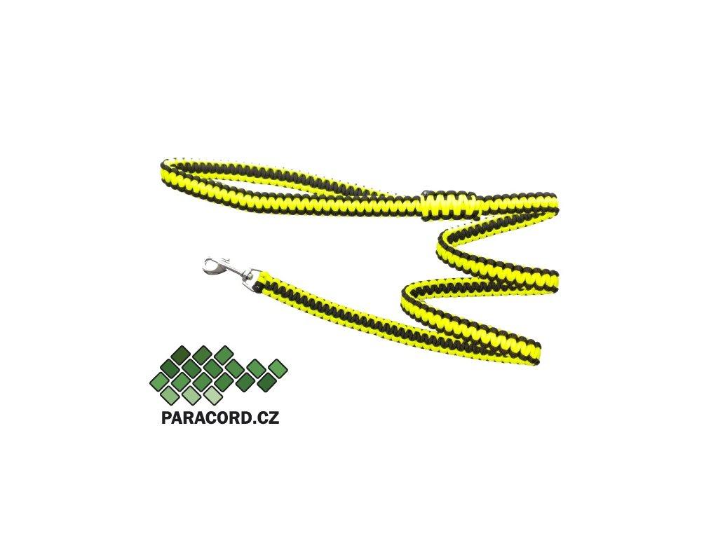 Paracord vodítko Kobra 180cm neon žlutá/černá