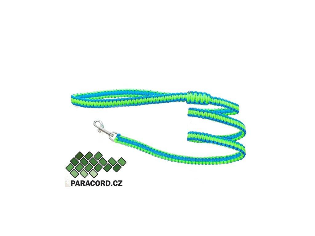 Paracord vodítko Kobra 130cm neon zelená/modrá