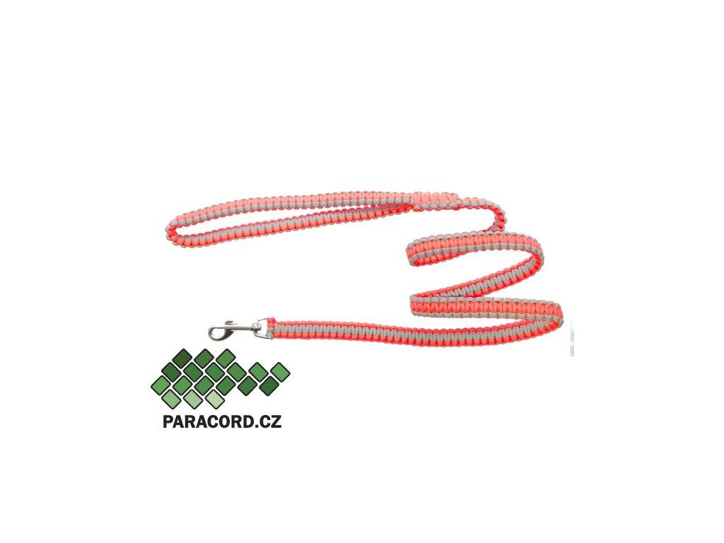 Paracord vodítko Kobra 180cm neon růžová/šedá