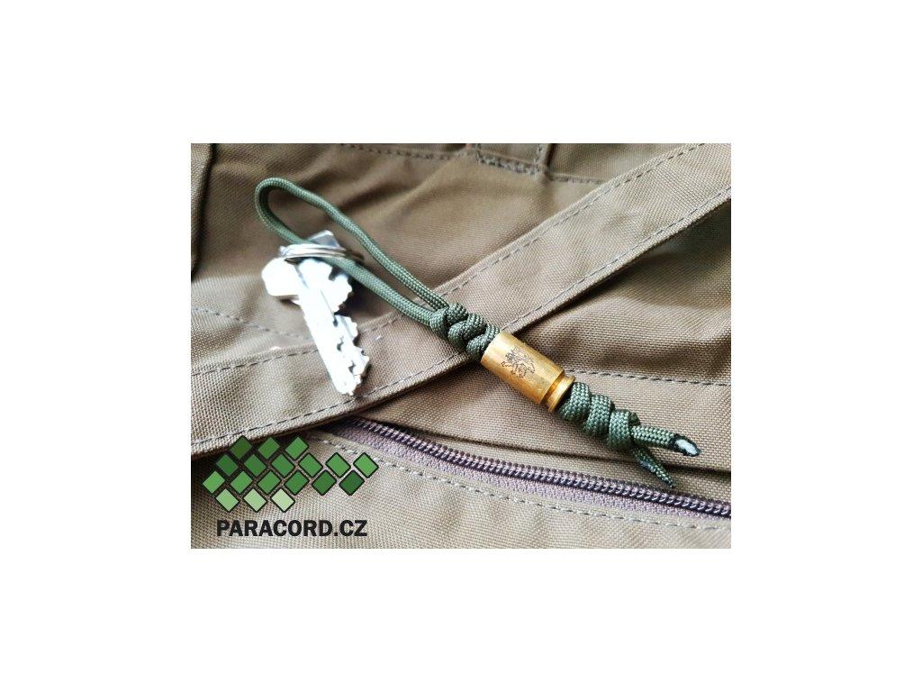 Paracord přívěšek s nábojnicí - oliv