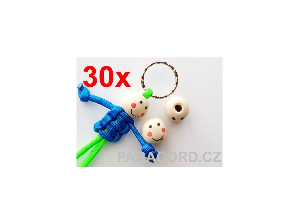 30ks Kulička (korálek) dřevěná - panáček