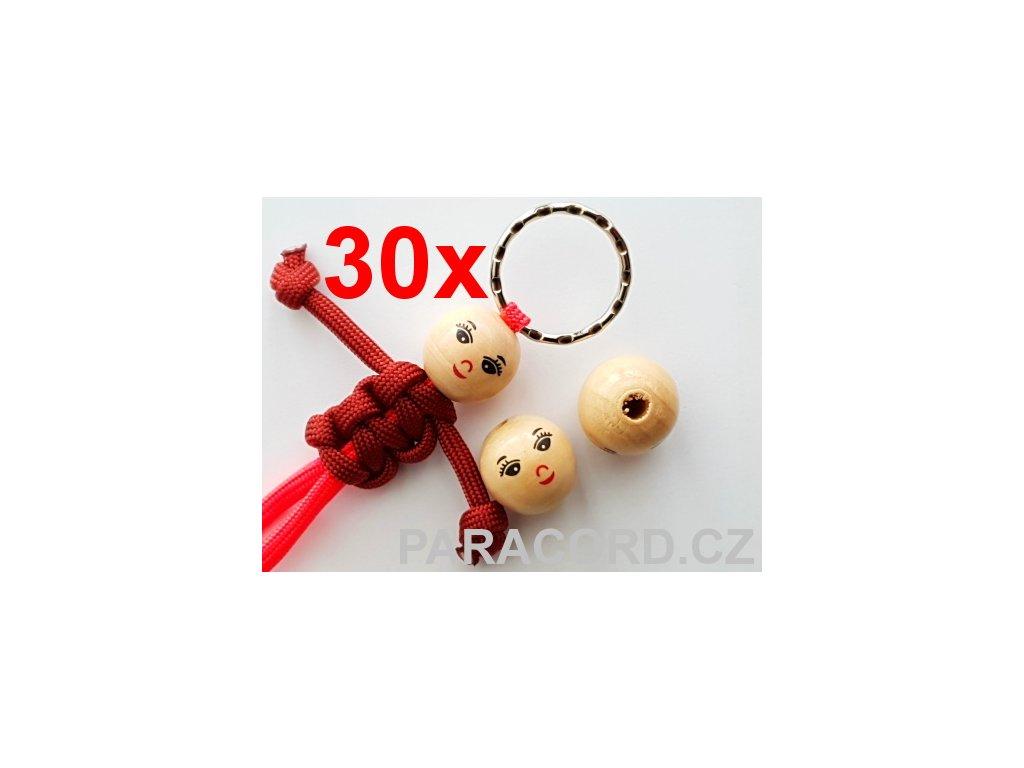 30ks Kulička (korálek) dřevěná - panenka