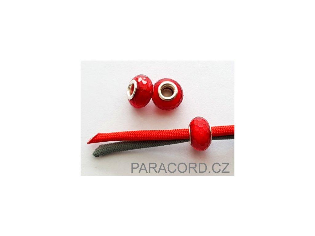 Korálek broušený - červený