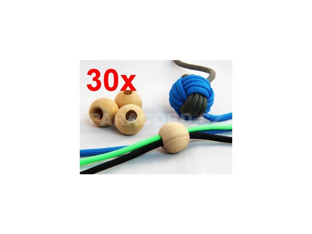 30ks Kulička (korálek) dřevěná - 2cm