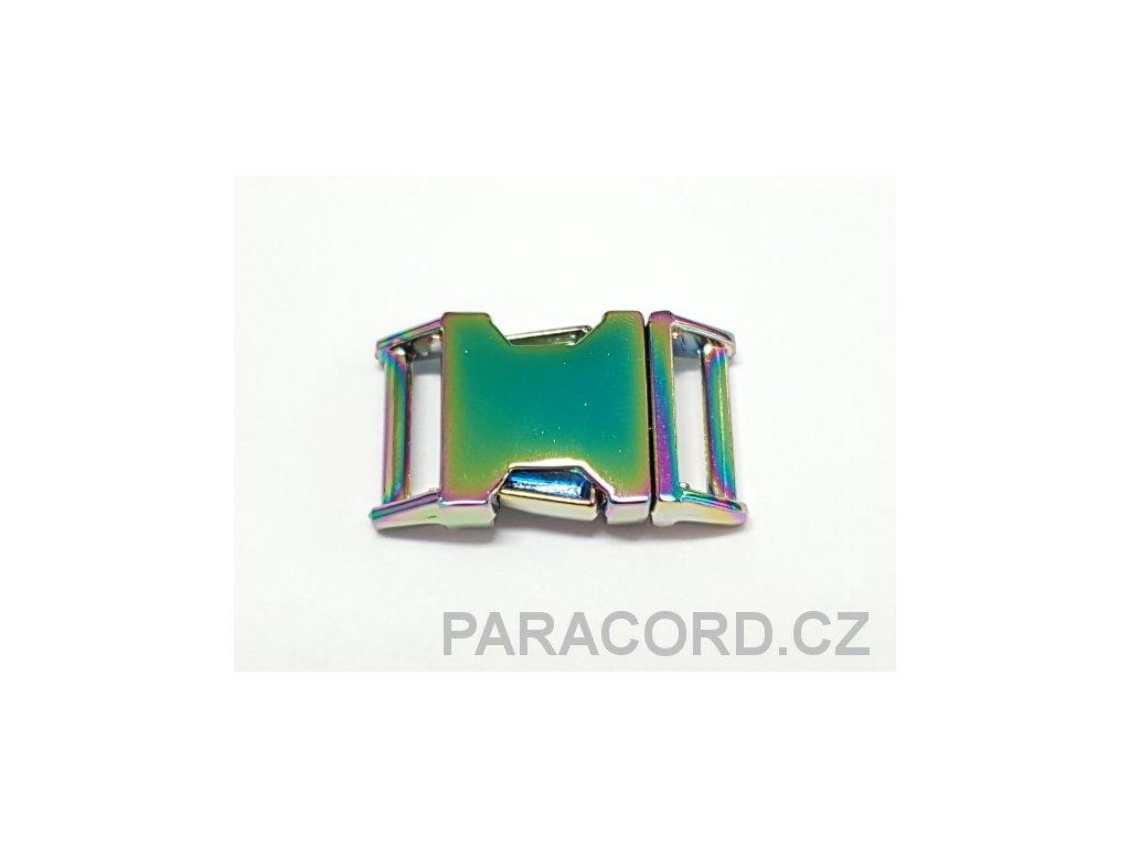 Spona trojzubec - kovová (16mm) duha
