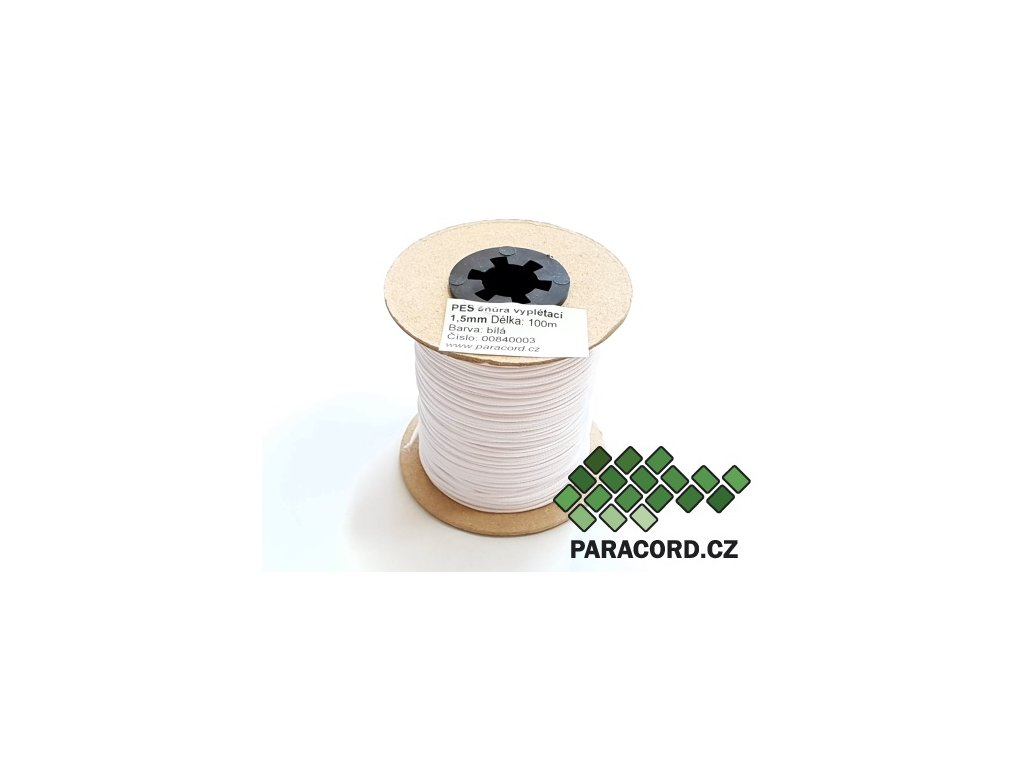 PES šňůra vyplétací 1,5mm (100m) - bílá