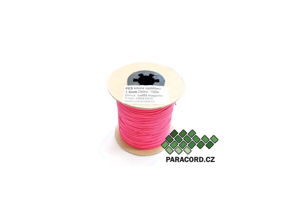 PES šňůra vyplétací 1,5mm (100m) - světlá magenta