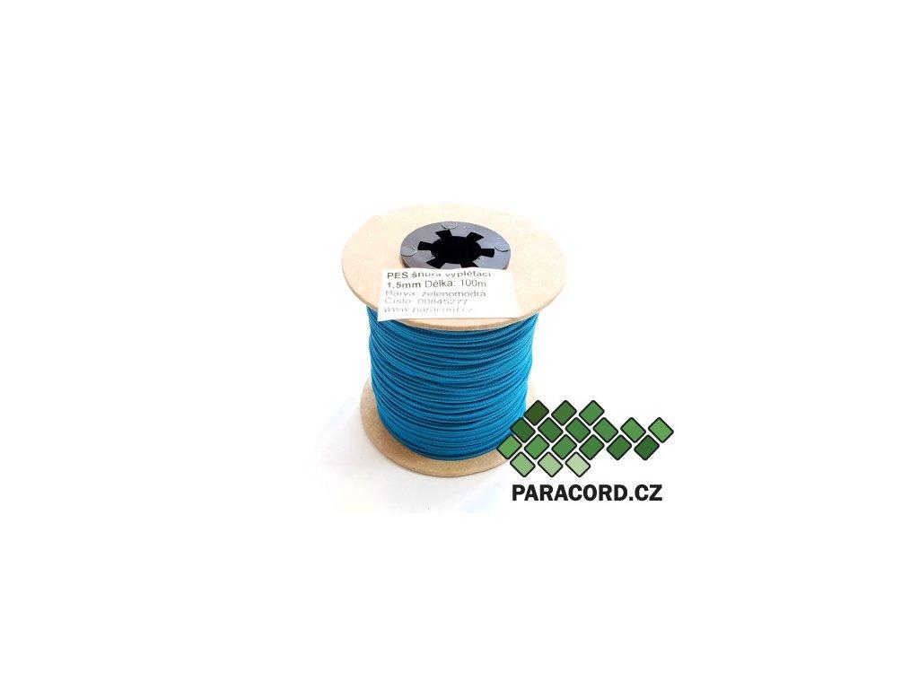 PES šňůra vyplétací 1,5mm (100m) - zelenomodrá