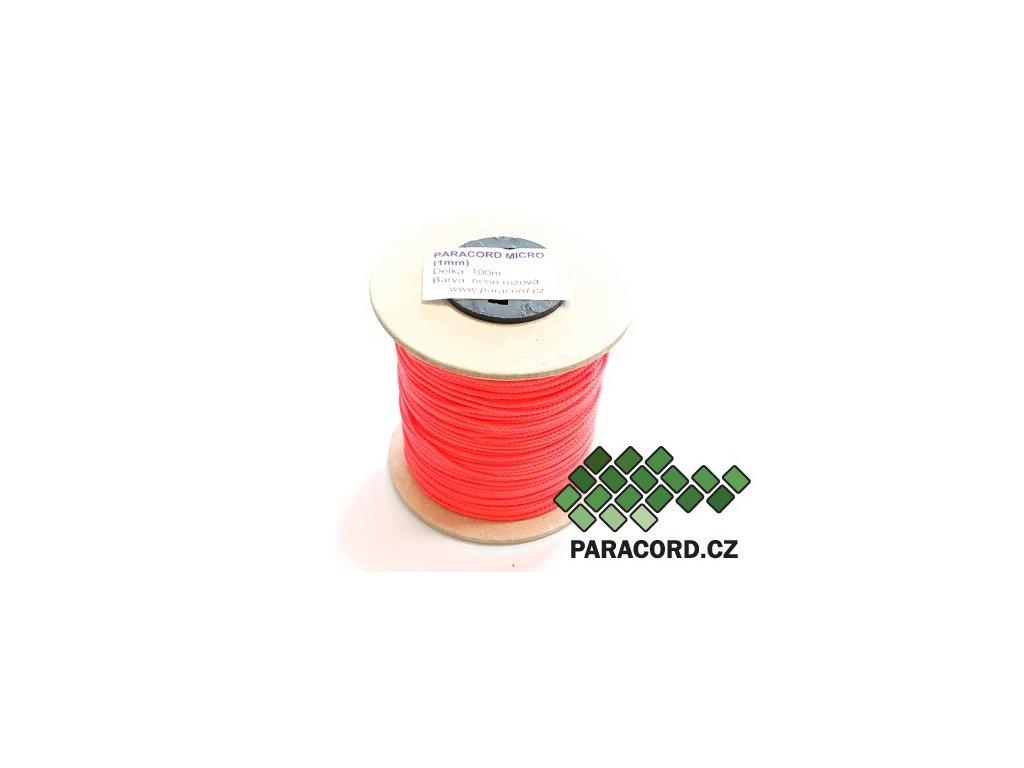 Paracord micro 1mm špulka 100m – NEON RŮŽOVÁ