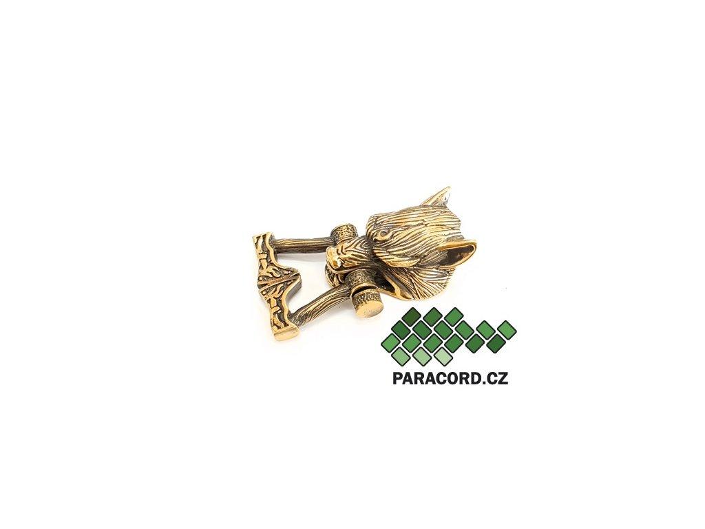 Spona ruční výroba - vlk Fenrir bronz