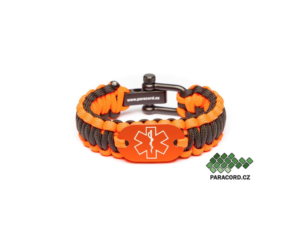 Survival paracord náramek ZDRAVOTNÍK - oranžový