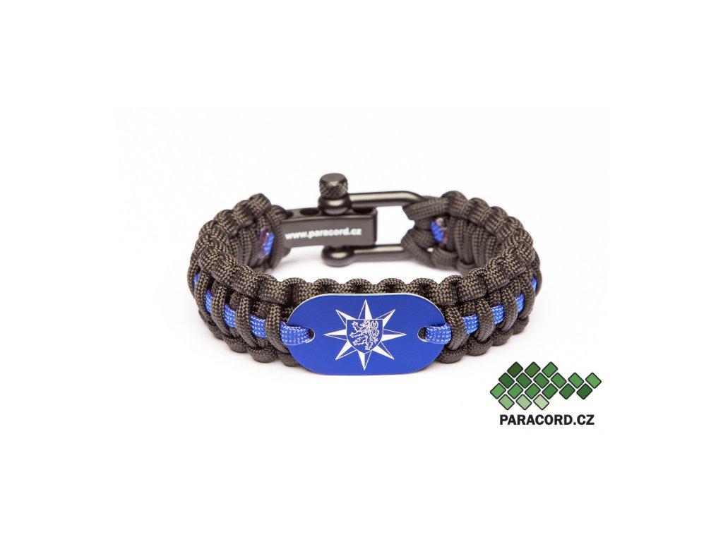 Survival paracord náramek PČR - modrý