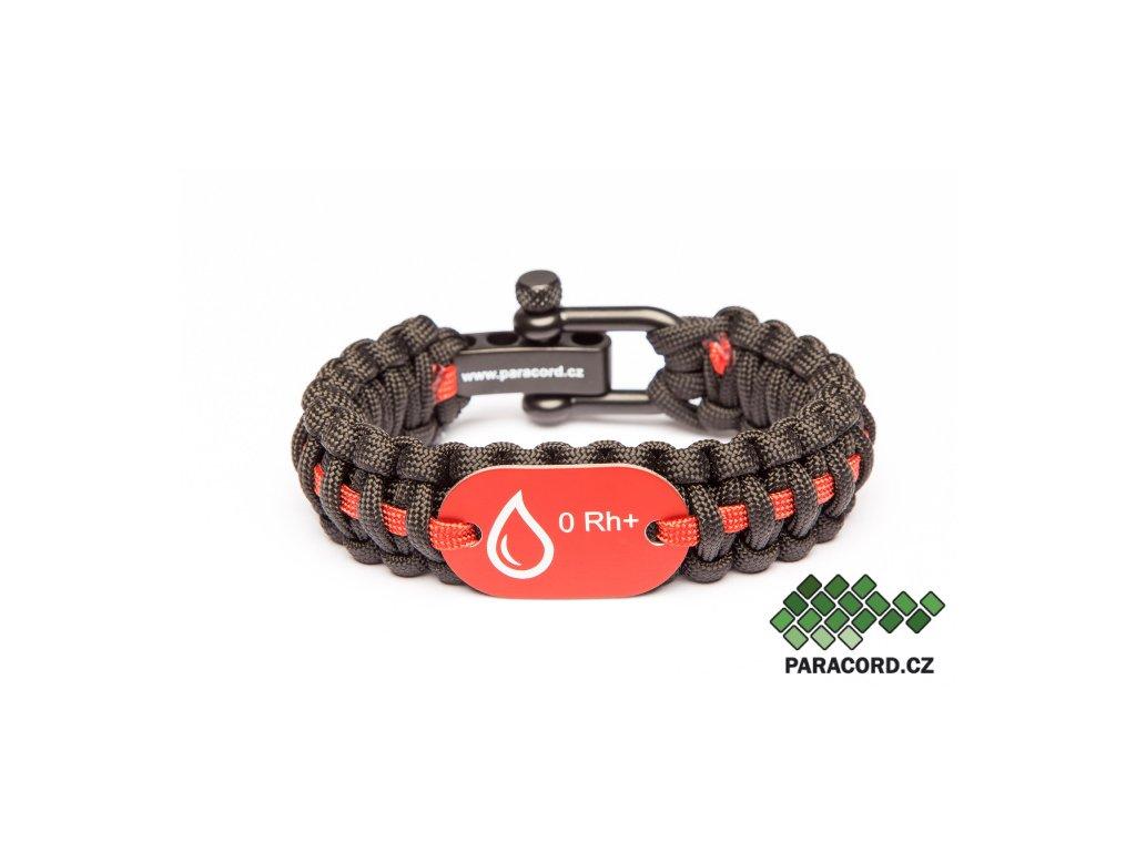 Survival paracord náramek KREVNÍ SKUPINA - červený