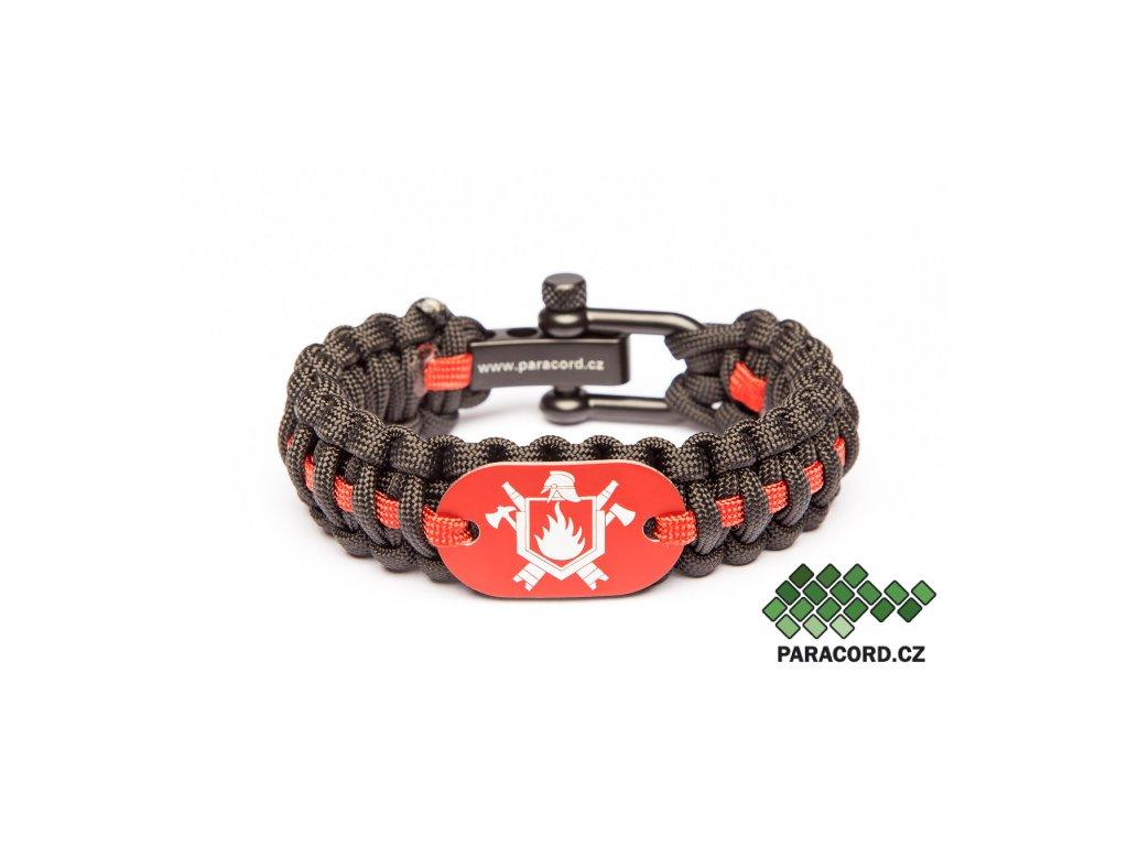 Survival paracord náramek HASIČ - červený