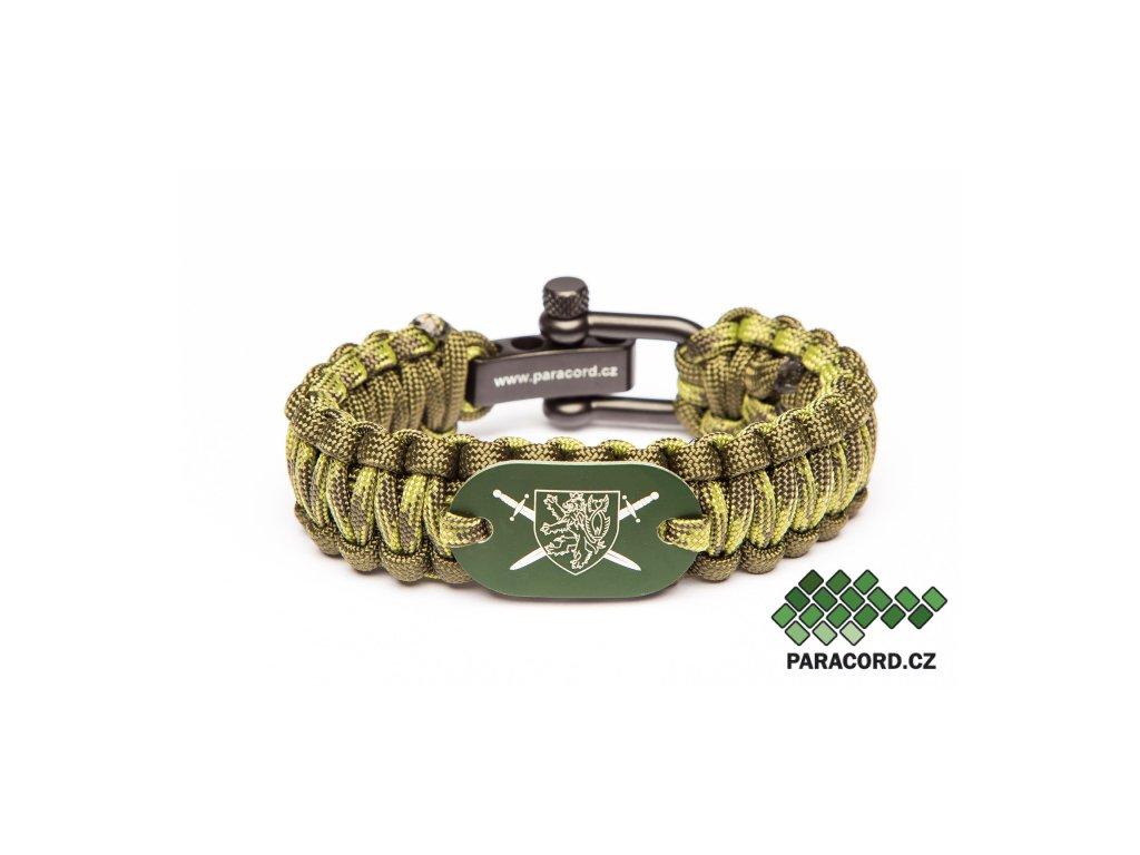 Survival paracord náramek AČR - voják zelený