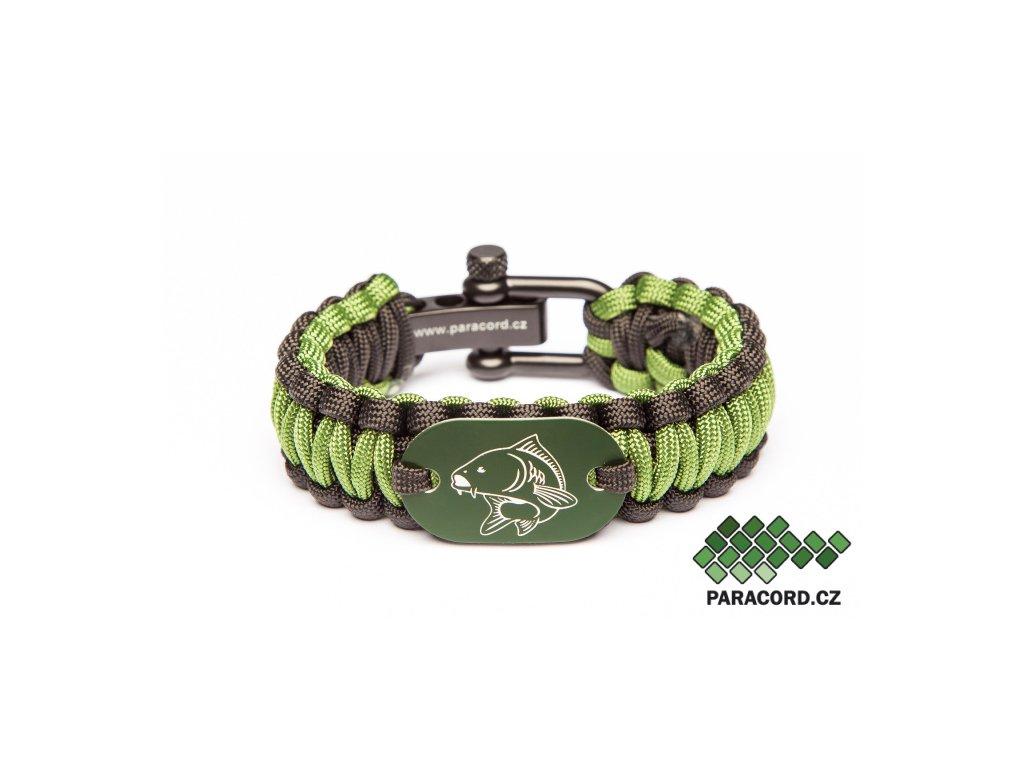 Survival paracord náramek RYBÁŘ - zelený