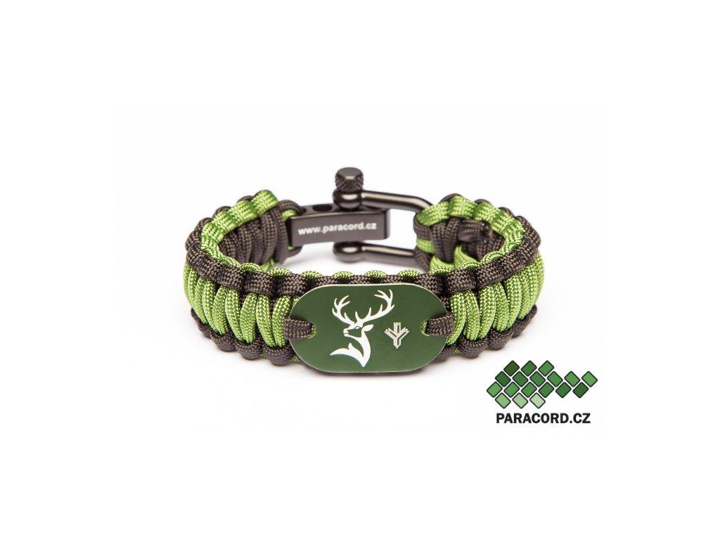 Survival paracord náramek MYSLIVEC - zelený