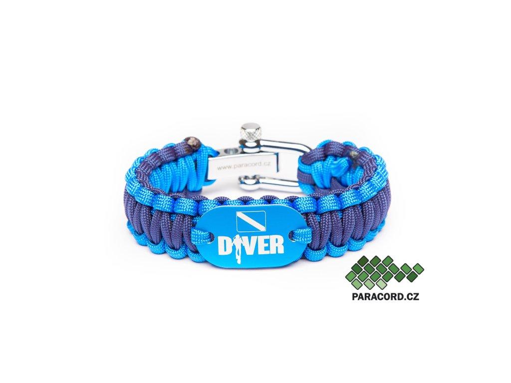 Survival paracord náramek POTÁPĚČ - modrý