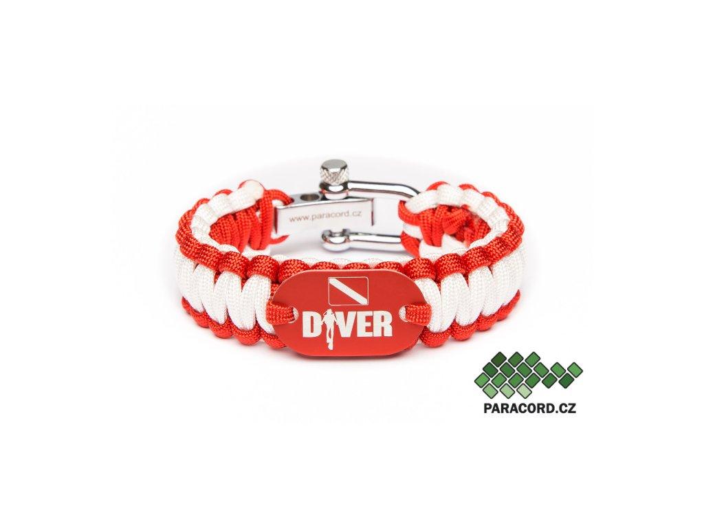 Survival paracord náramek POTÁPĚČ - červený