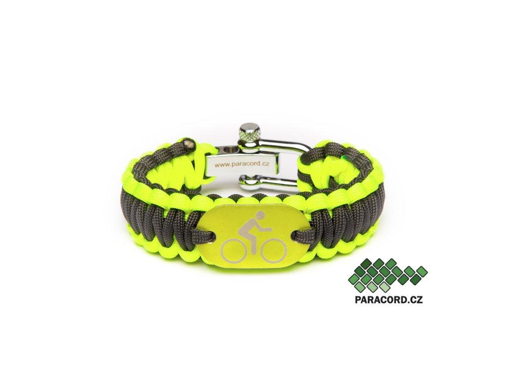 Survival paracord náramek CYKLISTA - žlutý