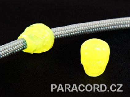 Korálek - lebka žlutá (svítící)