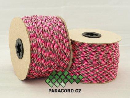 Paracord 550 - špulka 50m PINK CAMO
