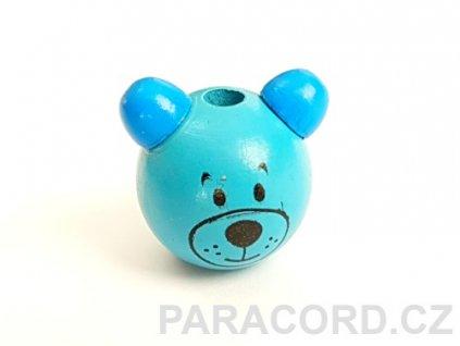 Korálek dřevěný medvídek - modrý